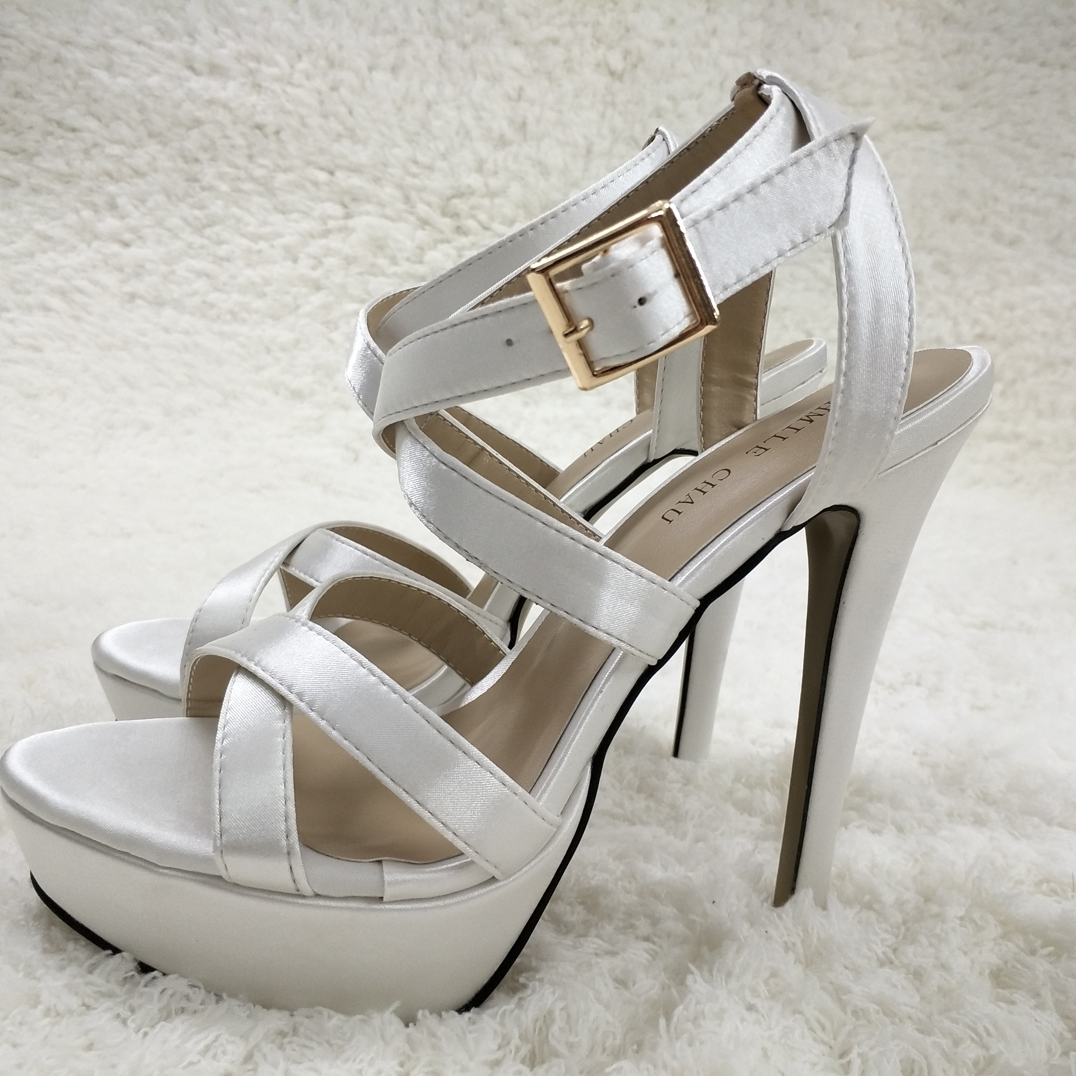 Mulher stiletto fino salto alto sandália sexy tornozelo cinta aberta plataforma marfim cetim moda vestido festa senhora sapato 3463sl-a