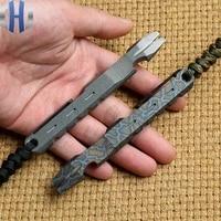tc4 titanium alloy crowbar outdoor survival defense edc multi function tool screwdriver burning titanium pattern