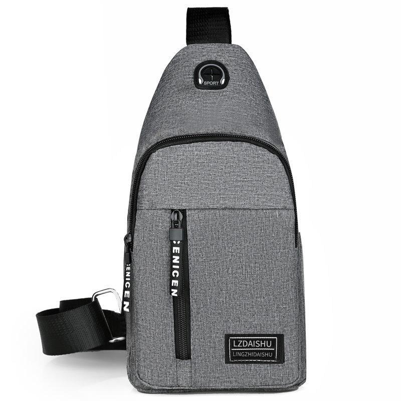 2021 Men's Travel Backpack Canvas Breast Bag Leisure Sports Travel One-shoulder Crossbody Bag