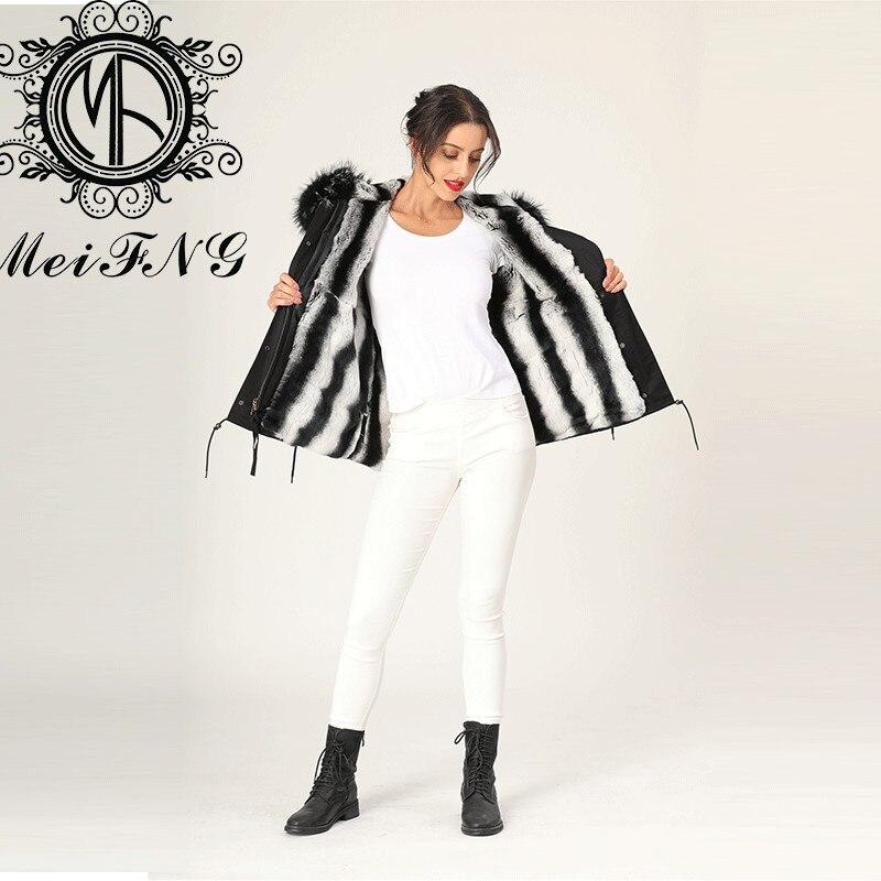 Black Big Unique Boutique Femme Hot Sale Real Rex Rabbit Chinchilla Color Lady Fur Jacket