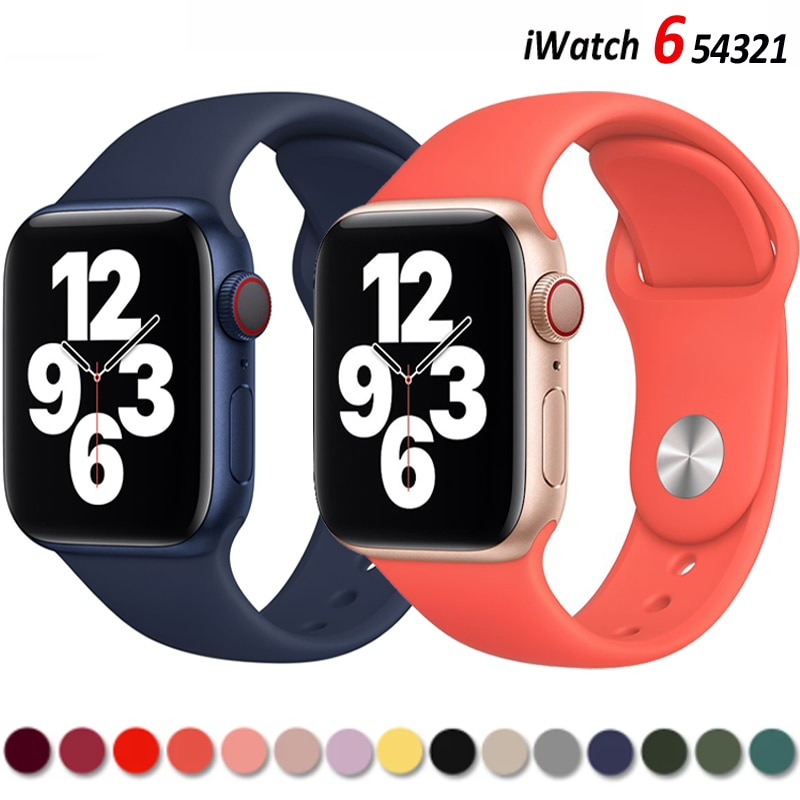 Silicone Strap For Apple Watch band 44mm 40mm 38mm 42 mm Rubber belt smartwatch bracelet iWatch seri