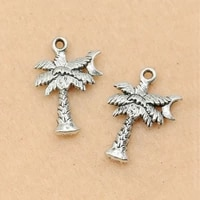10pcs antique silver plated christmas coca tree charms pendants for jewelry making bracelet diy craft handmade 21x15mm