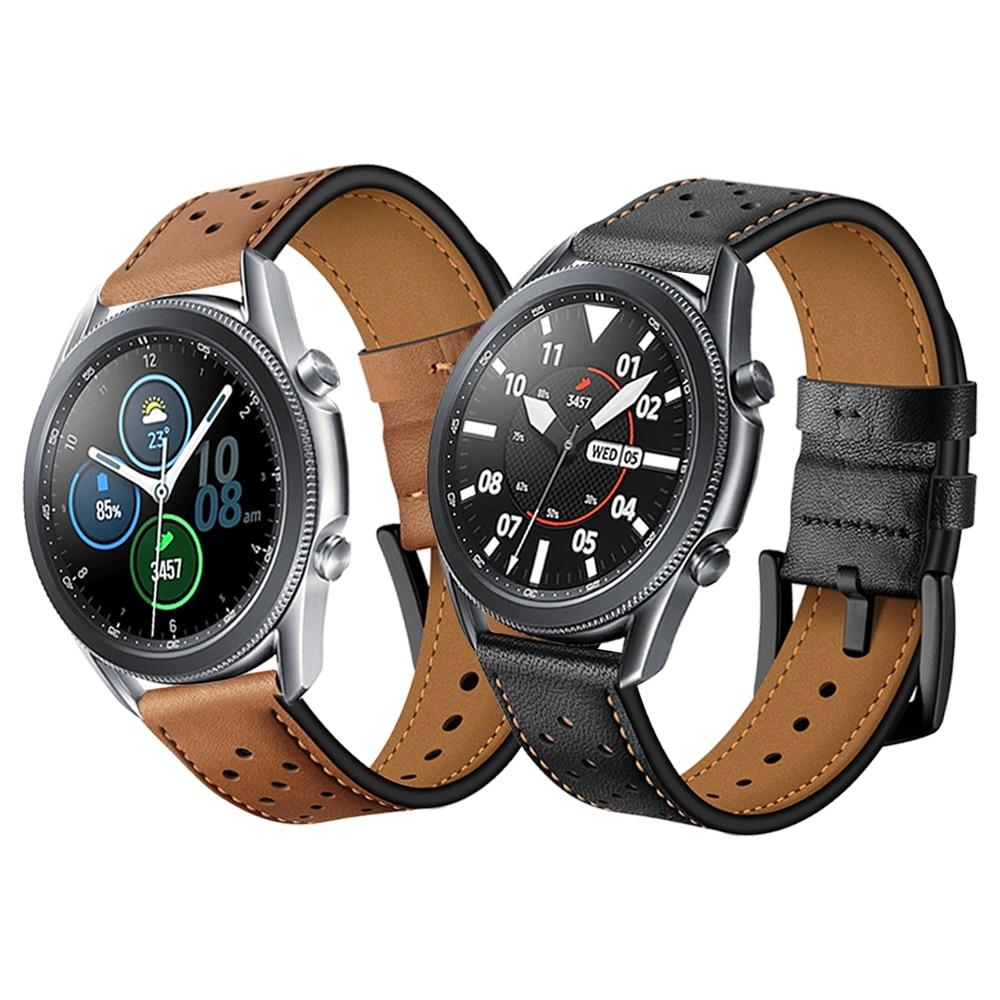 Фото - Genuine Leather Watchband For Samsung Galaxy Watch3 45mm 41mm Strap For Samsung Watch 3 Band Bracelet Replacement Accessories ремешок samsung stitch leather band для galaxy watch3 45мм watch 46мм коричневый