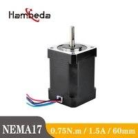 nema17 60mm height 1 5a hybrid stepper motor 2 phase 1 8 degrees 3d printer motor cnc parts