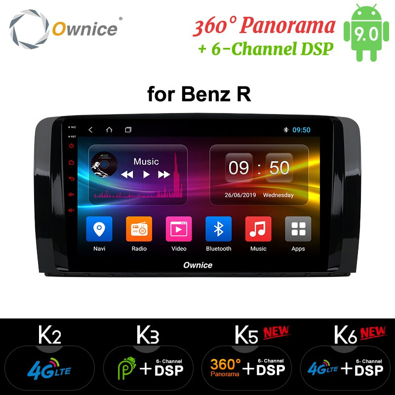 Ownice k3 k5 k6 Android 9,0 reproductor de DVD del coche para Mercedes/Benz/AMG Clase R W251 R300 R350 R63 Radio GPS 4G Octa Core DSP óptico