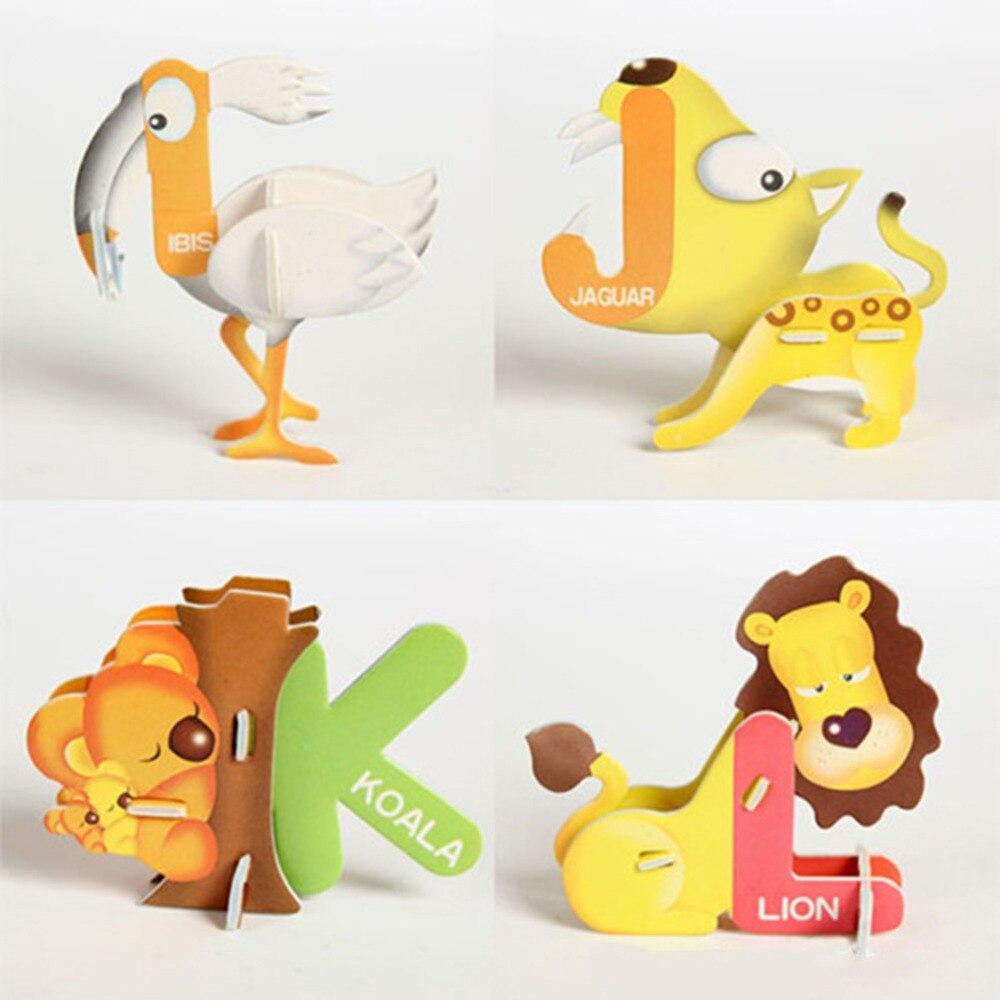 26 unids/set de papel rompecabezas educativos para niños 26 letras animales diseño...