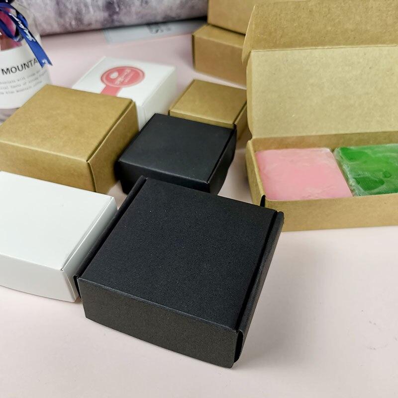 Мини-коробка из картона 50/100 шт., ручная крафт-бумага, Коробка для мыла, Подарочная коробка для ювелирных изделий