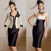 black mother of the bride dresses sheath knee length with jacket flowers plus size groom short mother dresses for wedding