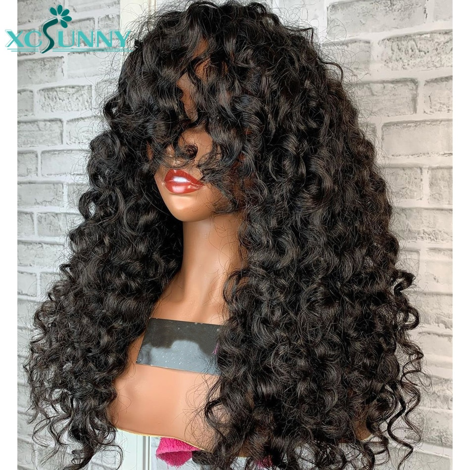 Curly Wig With Bangs Human Hair Wigs Brazilian Spiral Curl 24
