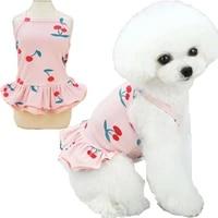 sexy soft pet clothing dog dresses summer cherry pattern pink white yellow cool sleeveless shirt skirt puppy cat dress costume l