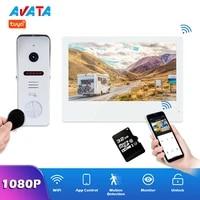 10 inch wifi video intercom home tuya smart life video door phone system wireless touch screen 1080p rfid video doorbell camera
