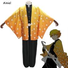 Ainiel démon tueur Cosplay Disfraz Agatsuma Zenitsu Costume Kimetsu No Yaiba vêtements Kimono fantôme escouade uniforme Halloween perruque