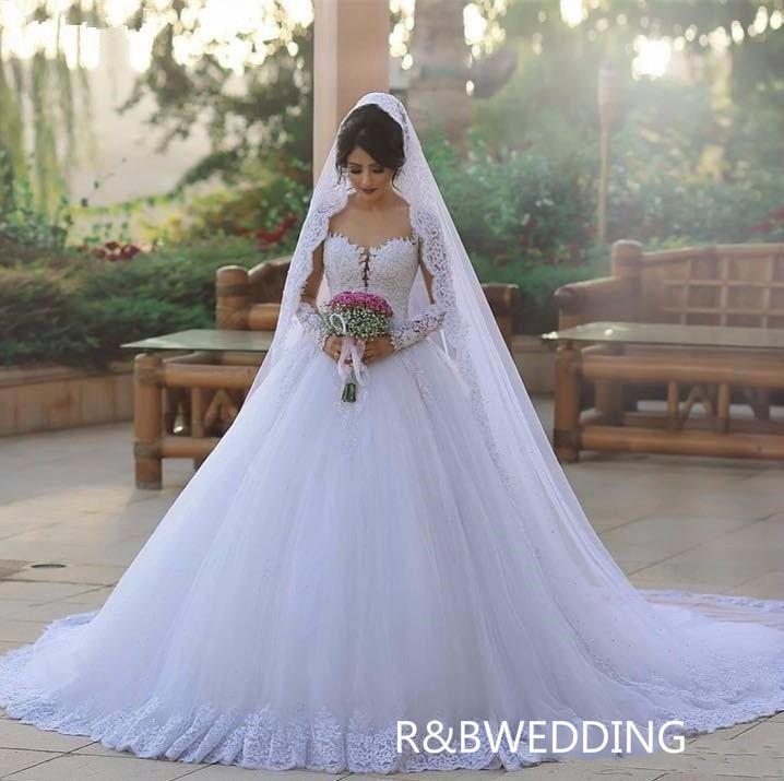 Роскошные арабские свадебные платья в Дубае, кружевные платья с длинными рукавами, отвесная горловина, аппликация, вечерние свадебные плат...