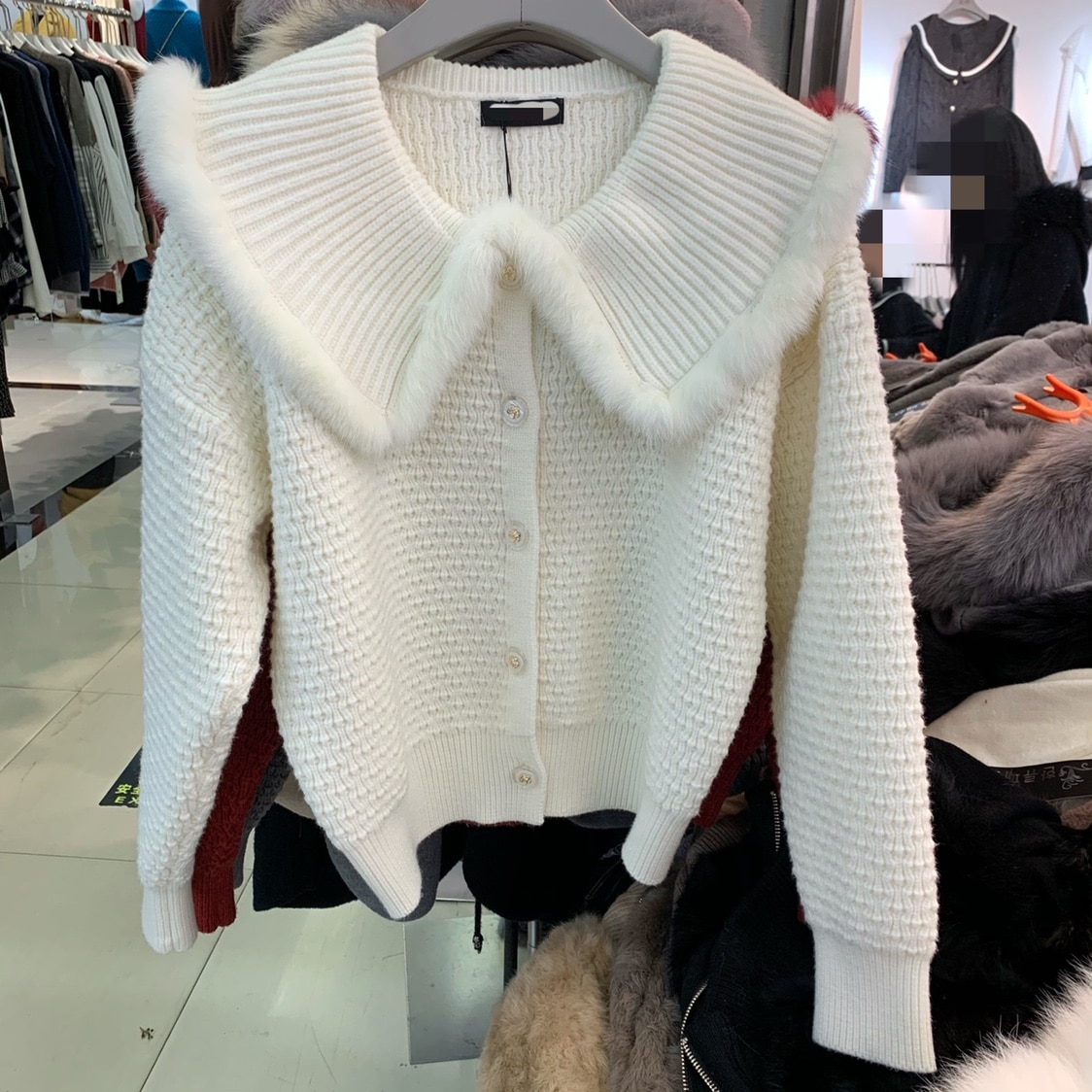 Sweater Women Time-limited Navy Lapel Rabbit Hair For Edge Single Breasted Sweater Cardigan 2020 Winter For Women With A New enlarge