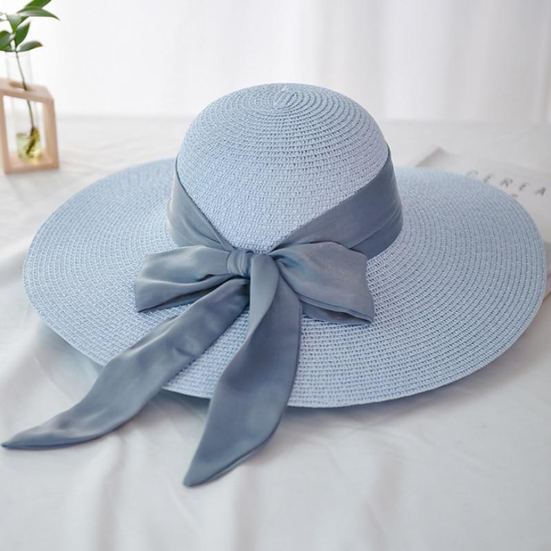 Panama New Fashion Ladies Hats Beach Big Ribbon Bow Large Wide Brim Hat Women Summer Packable Floppy Sun Straw