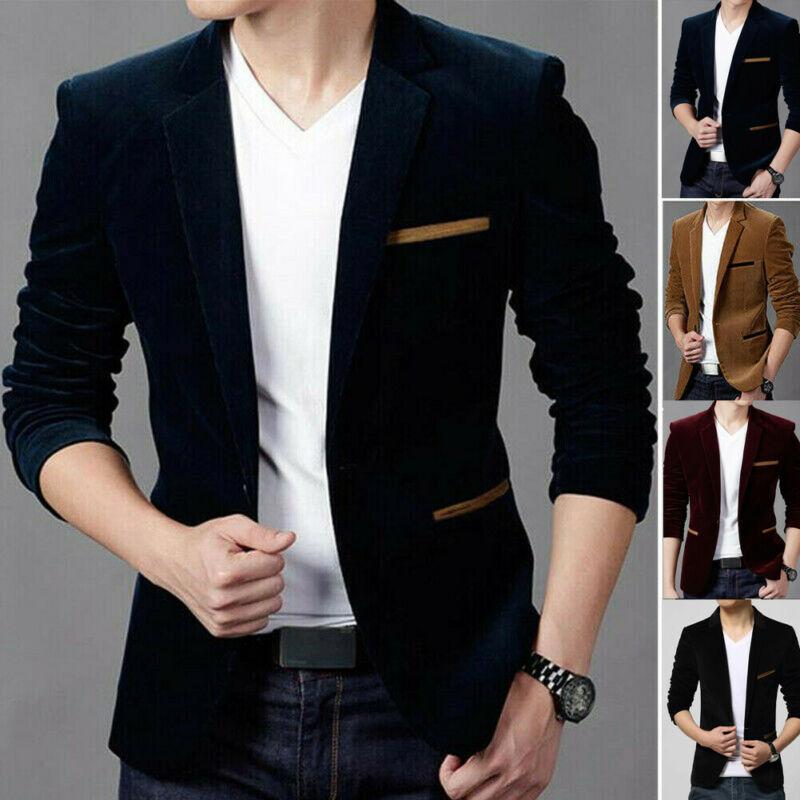 Hot Men's Formal Suit Blazer Coat Business Casual One Button Slim Fit Jacket Tops