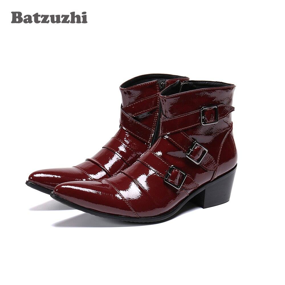 Batzuzhi-أحذية رعاة البقر الغربية للرجال ، أحذية جلدية حقيقية مع النبيذ الأحمر ، مناسبة للدراجات النارية