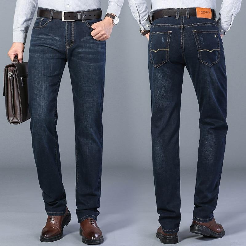 Male Brand Business Cotton Elastic Regular Fit Denim Pants Trousers 2021 Spring New Men's Classic Blue Black Slim-fit Jeans