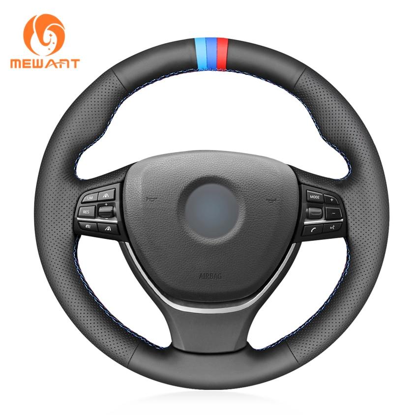 Черный кожаный чехол рулевого колеса автомобиля для BMW F10 F11 (Touring) F07 (GT) F12 F13 F06 F01 F02