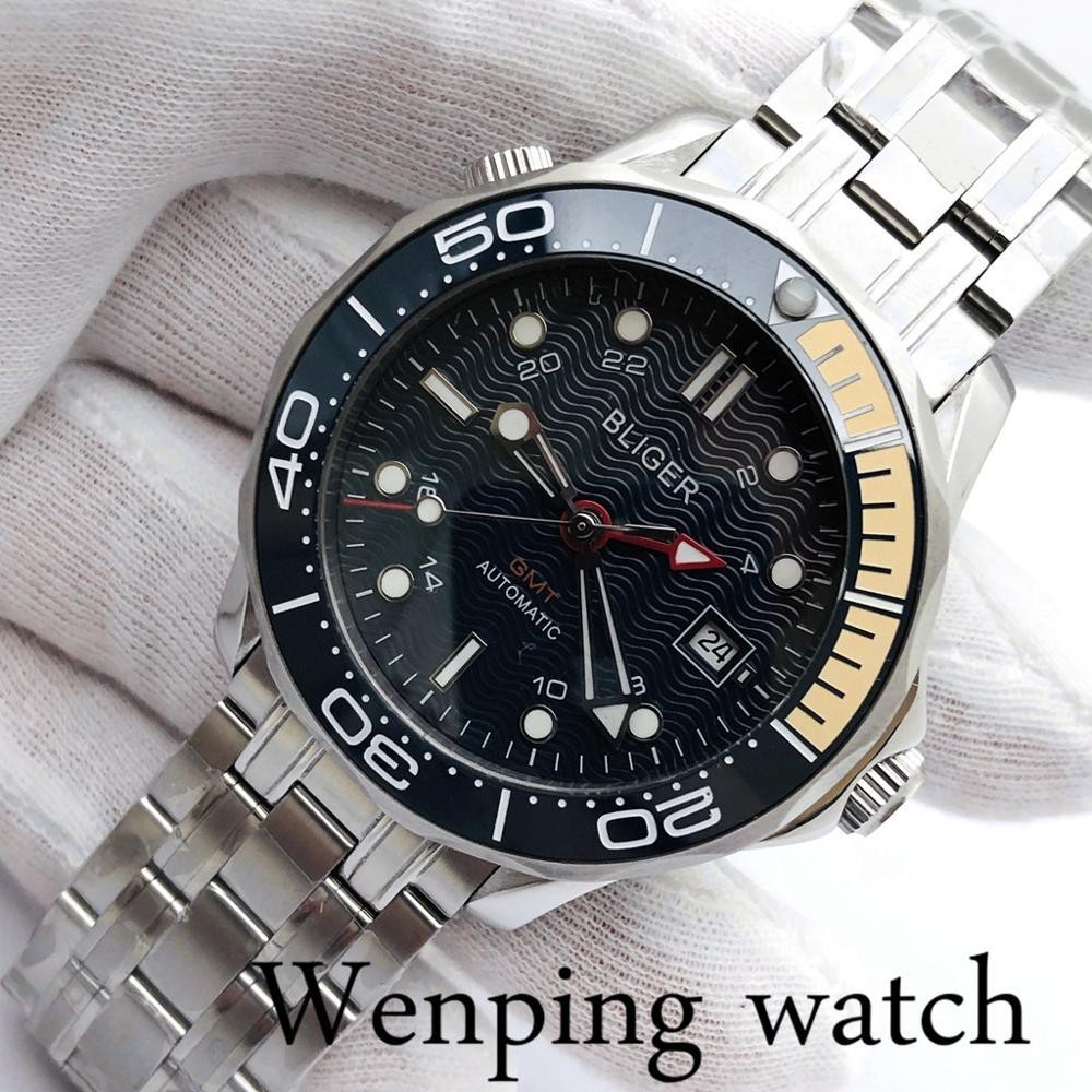 Bliger 41mm, carcasa plateada de cristal de zafiro, bisel de cerámica, esfera azul oscura luminosa, Top para hombre, reloj mecánico automático de negocios GMT