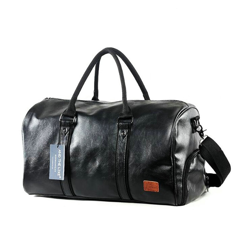Leather Gym Bags Men PU Travel Crossbody With Shoe Compartment Waterproof Sport Outdoor Training Storage Handbag