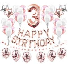 Heronsbill-ballons du numéro 3, guirlande de décorations, troisième banderole, bannière I Am 3 ans, anniversaire de bébé pour garçon et fille