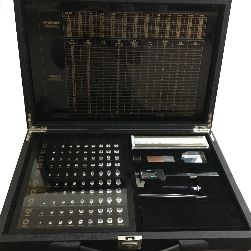 4Cs Grade Tester Diamond Dealer Tools Collection CZ Stones Color Size Shape Master Full Set