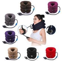 3-слойный надувной шейный Тяговый воротник, мягкое Шейное растягивающее устройство, воздушная Шейная подушка для шеи и плеч, облегчающая боль, бандаж