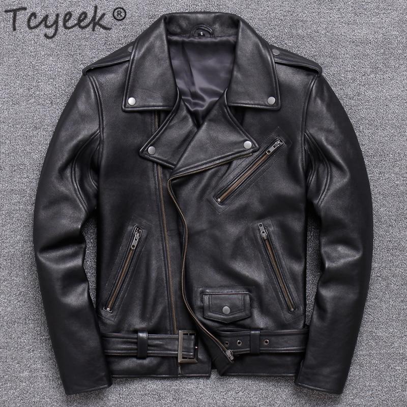 Tcyeek 100% Real Leather Coat Men Autumn Winter Clothes 2020 Streetwear Genuine Cow Leather Jacket Mens  Moto Biker Coats V15616