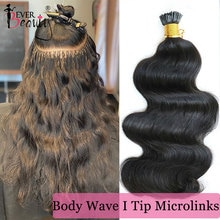 Body Wave I Tip Hair Extensions Microlinks Brazilian Virgin Hair Bulk 100% Human Hair Natural Black