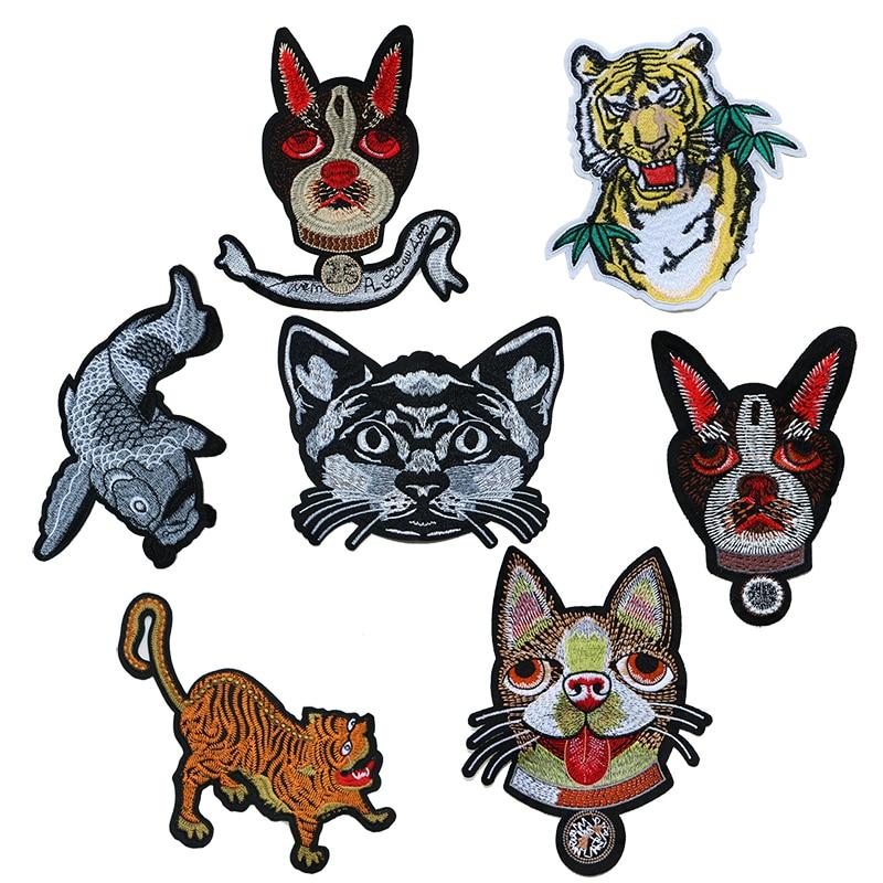 Autocollant Animal décoratif   Patch chien Husky, chat poisson tigre icône brodée, patchs appliques pour fer bricolage, Badges sur sac à dos