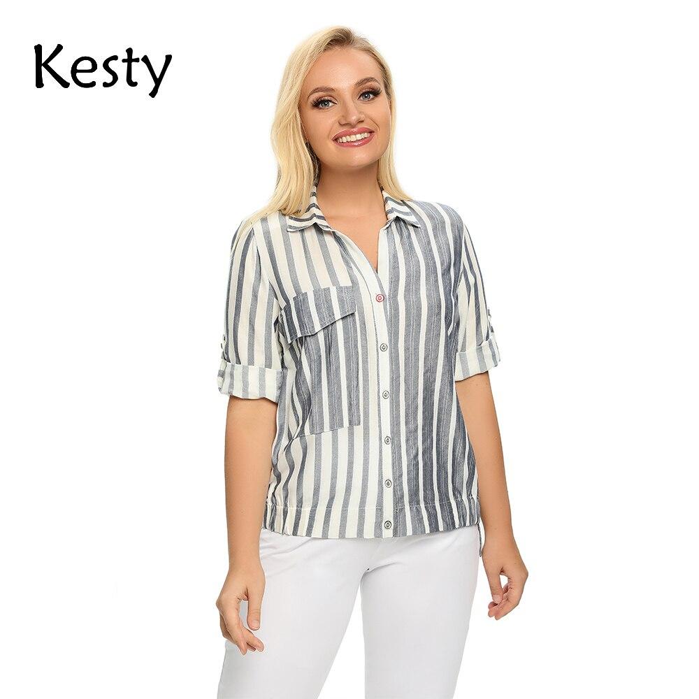 Женская рубашка больших размеров KESTY в весеннюю хлопковую полоску с карманами и отворотом на пуговицах, повседневный топ