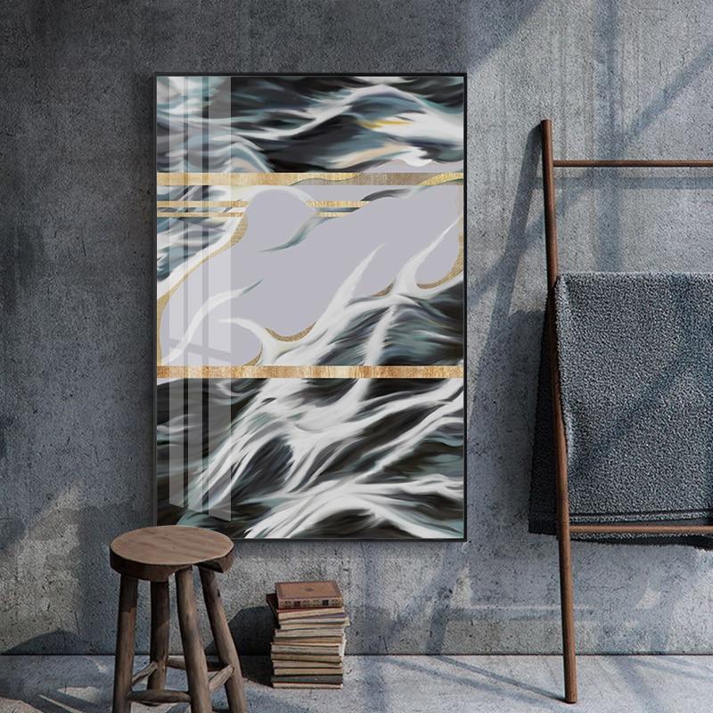 Póster con impresión estilo cuadro de pared grande, lámina dorada abstracta verde,...