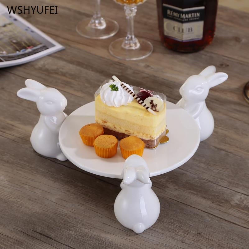 Plaque à gâteau ronde de luxe   En céramique trois lapins de dessin animé assiette à gâteau de pâtisserie, plateau à bijoux pour le thé de laprès-midi