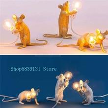 Modernas lámparas de noche de resina con diseño de animales y ratas, pequeñas lámparas nórdicas de ratón, lindas lámparas LED de mesa, lámparas de Escritorio de decoración para el hogar, lámparas de noche, accesorios de iluminación