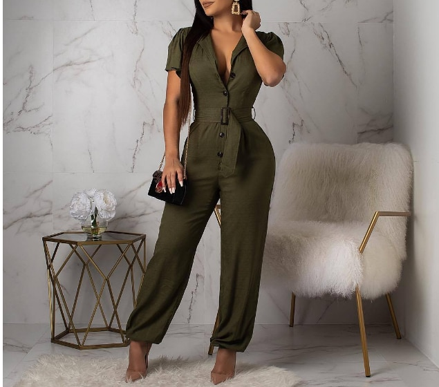 2021 new European and American women's fashion casual temperament sexy features solid color jumpsuit pants with belt S-XL 2020 new women s jumpsuit european and american rompers fashion casual solid color plain zip mask jumpsuit
