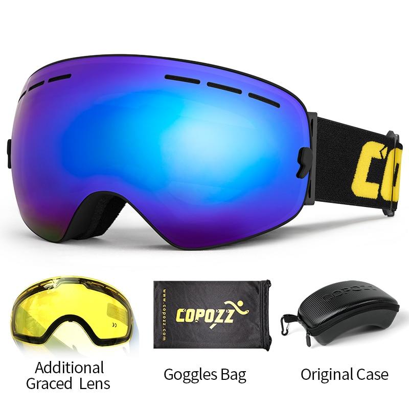 نظارات تزلج COPOZZ مع حافظة وعدسات صفراء UV400, نظارات تزلج كروية مضادة للضباب ، نظارات تزلج للرجال والنساء ، نظارات ثلج + عدسة + مجموعة صندوق