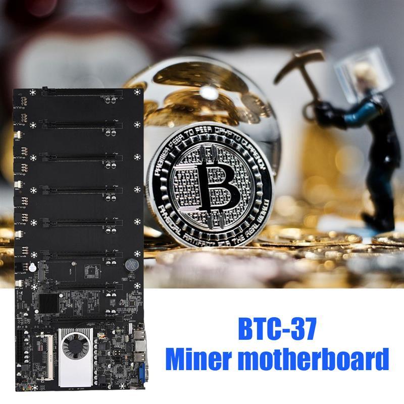 BTC-T37 مينر اللوحة وحدة المعالجة المركزية مجموعة 8 فيديو فتحة للبطاقات DDR3 الذاكرة المتكاملة واجهة VGA انخفاض استهلاك الطاقة BTC 37 التعدين
