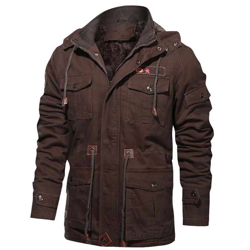 Winter Jackets Men Fur Warm Thick Cotton Multi-Pocket Hooded Parkas Men`s Casual Fleece Coats Windbreaker Retro Overcoat Clothes