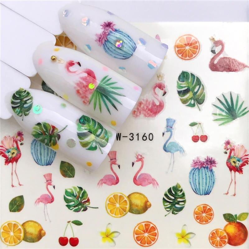 YWK 1 PC frutas/hoja de loto/Flamingo etiqueta engomada del clavo de agua auto arte adhesivo para uña tatuaje calcomanías decoración DIY envolturas