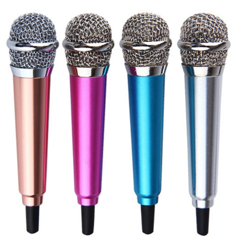 3,5mm Estéreo Portátil Studio Mic KTV Karaoke Mini micrófono para Teléfono Celular Laptop PC de escritorio de 5,5 cm * 1,8 cm de tamaño pequeño micrófono