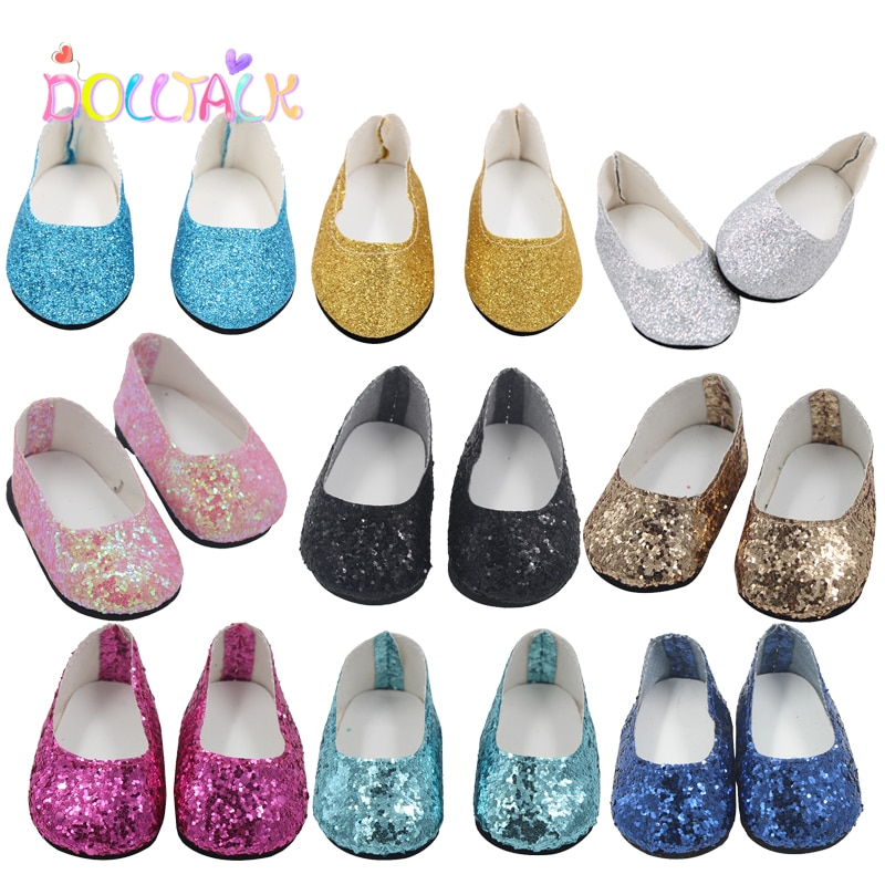 18'' Doll Mini Shoes 7.5 cm PU Sequin Shoes Wear For 43 cm New Baby Reborn Toys For American Dolls for Girl's Gift недорого