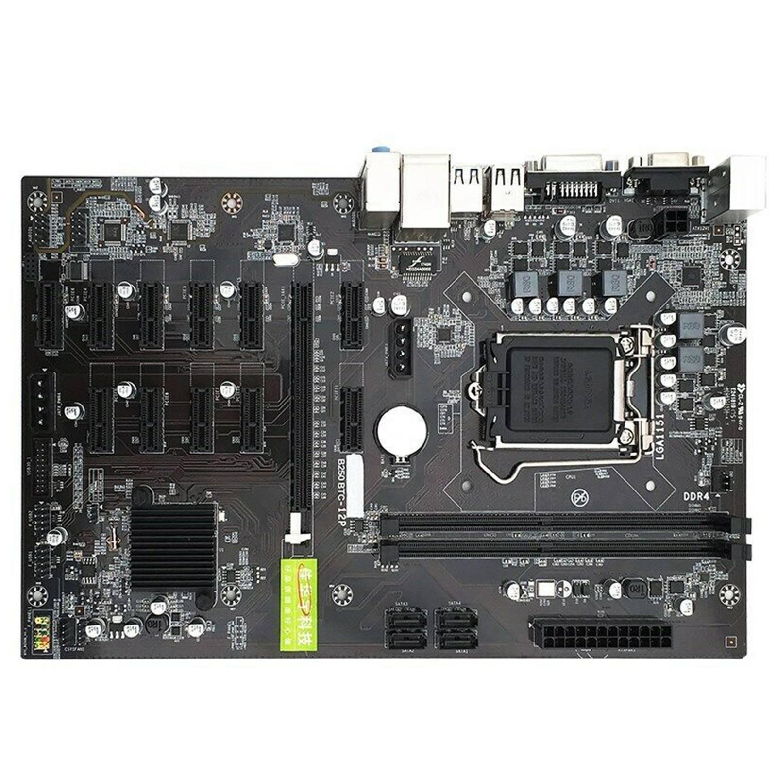 32 جيجابايت B250-BTC 12GPU التعدين اللوحة Ethereum التعدين 12 PCI-E LGA1151 2 DDR4 DIMM التعدين متعدد GPU دعم ATX USB 3.0