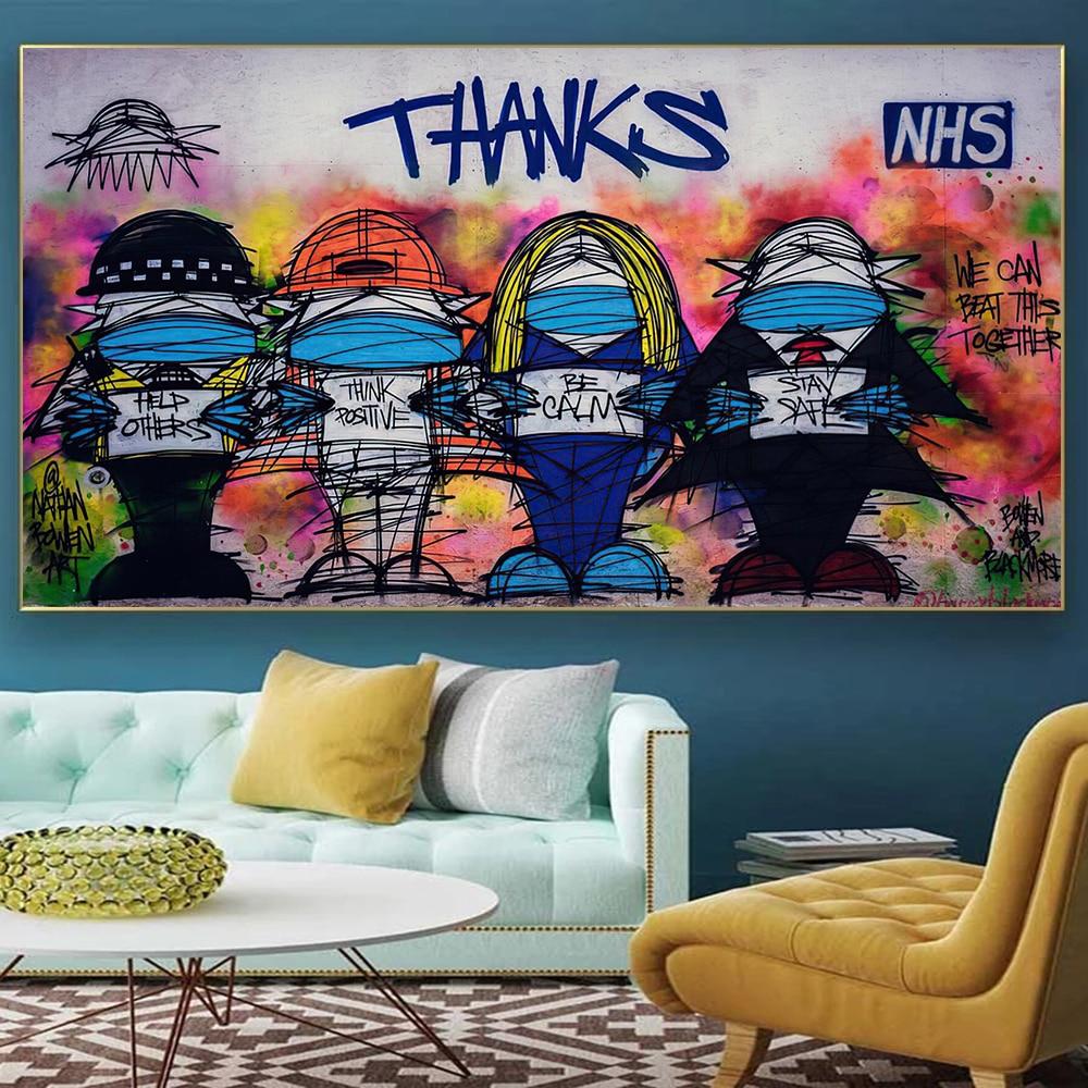 Граффити настенное искусство абстрактная благодарность холст живопись плакаты печатные Мультфильмы для гостиной домашний Декор без рамки...