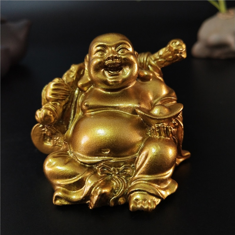 Goldene Laughing Buddha Statue Chinesische Feng Shui Glück Geld Maitreya Buddha Skulptur Figuren Home Garten Dekoration Statuen