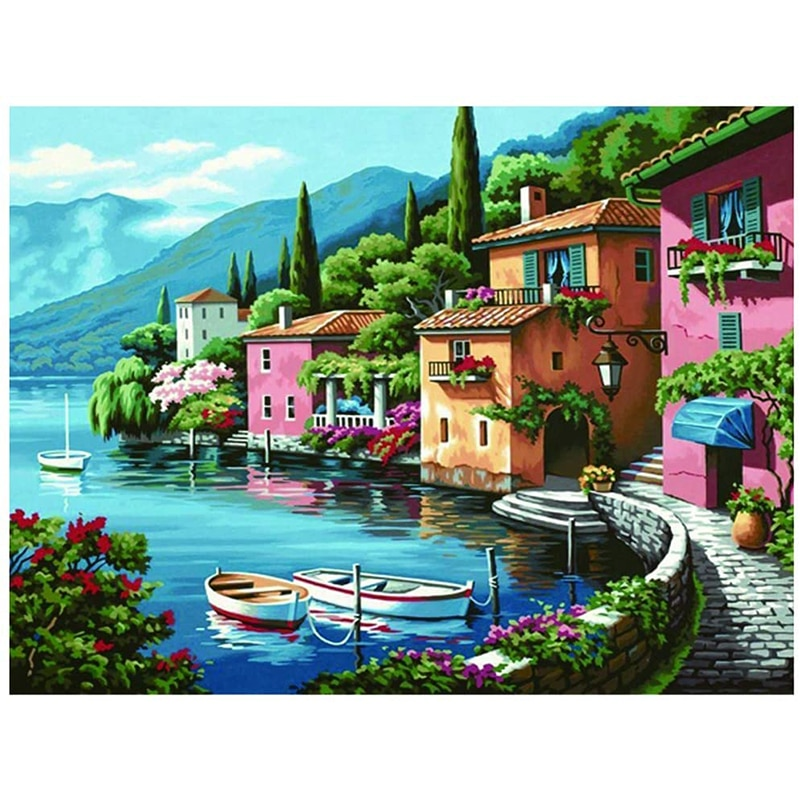 5D DIY Diamond Painting Kits for Adults Full Drill Square Round Seaside Landscape House Wall Art Decor