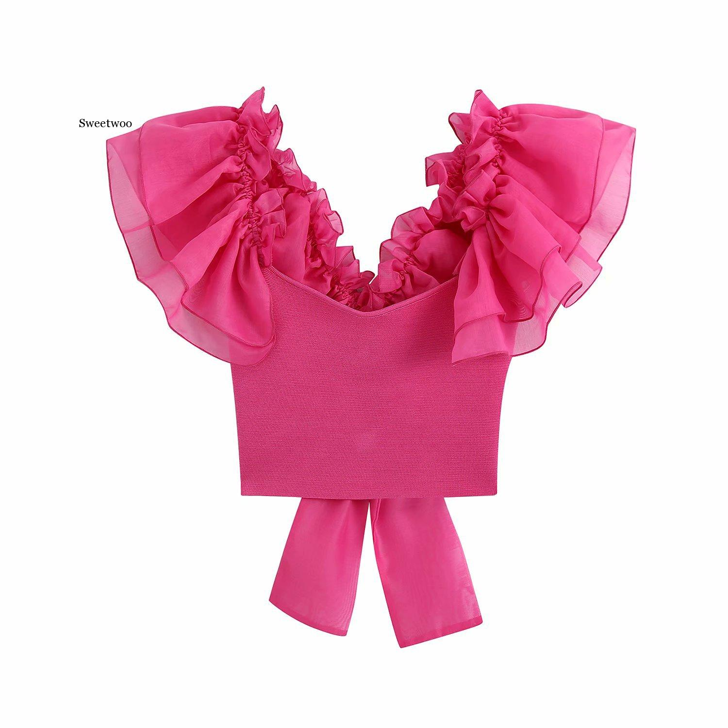 Women fashion transparent organza pleat ruffles patchwork knitting short smock blouse back bow tie chic shirt female top chic bow tie collar sleeveless pure color blouse for women
