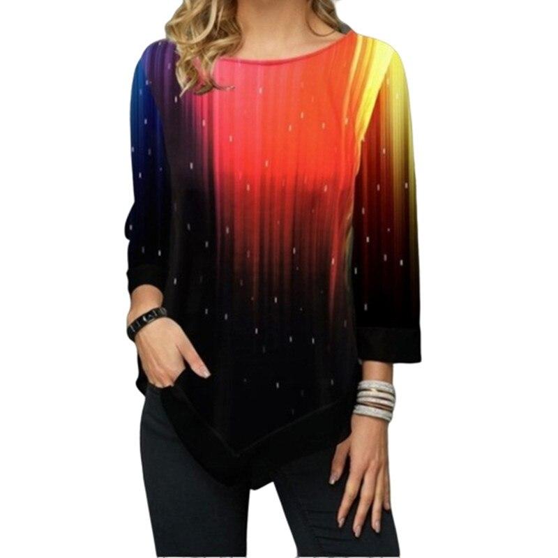 Moda 3D Camiseta Mujer estampado manga larga Color superior a juego Camisetas cuello redondo Ropa Mujer 5XL Camiseta Mujer Irregular Ropa Mujer