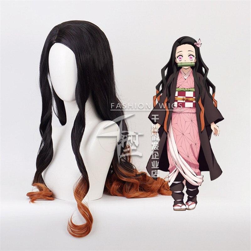42'' 105cm Demon Slayer Nezuko Kamado Cosplay Wigs Kimetsu no Yaiba Heat Resistant Hair Cosplay Cost