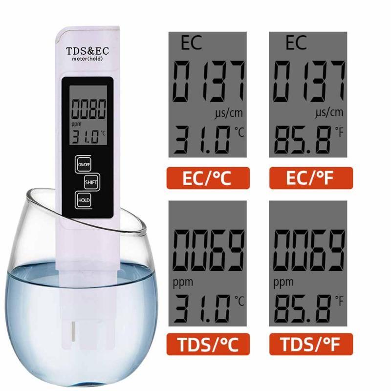 3 в 1 TDS EC измеритель температуры цифровой ЖК-дисплей для тестирования воды Чистота фильтра с 4 различными режимами тестер уровня воды